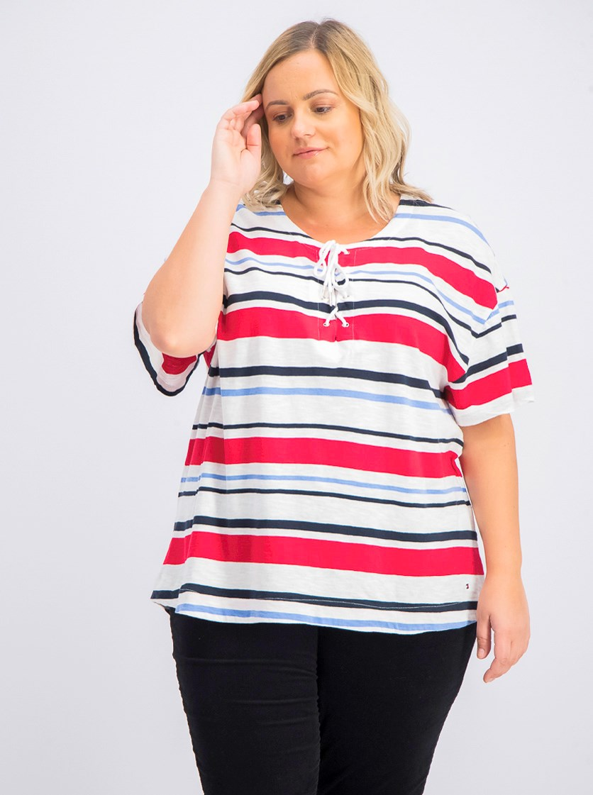 Women's Plus Size Cotton Lace-up Top, Aquarius