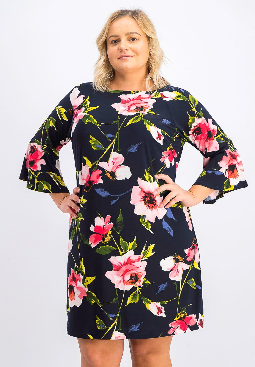 Women's Plus Size Corsage Floral Bell Sleeve Dress, Navy Combo
