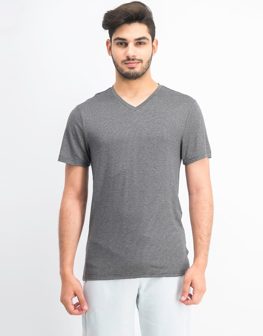 Men's Striped Cool V-neck T-shirt, Charcoal