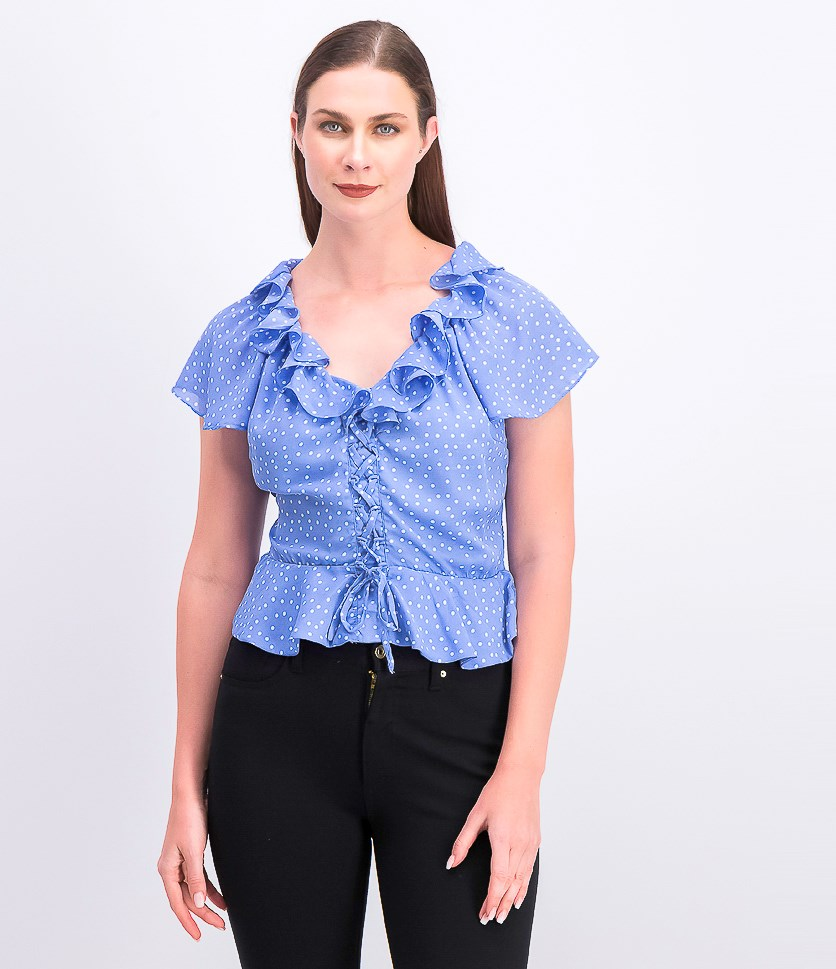 Juniors' Printed Ruffled Peplum Top, Cornflower Blue