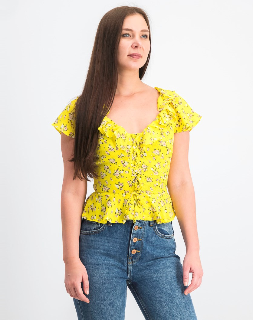 Women's Juniors' Printed Lace-up Peplum Blouse, Yellow Cream