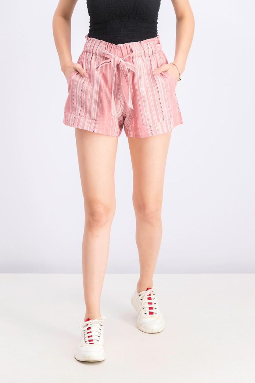 Juniors' Cotton Paperbag Soft Shorts, Mineral Red
