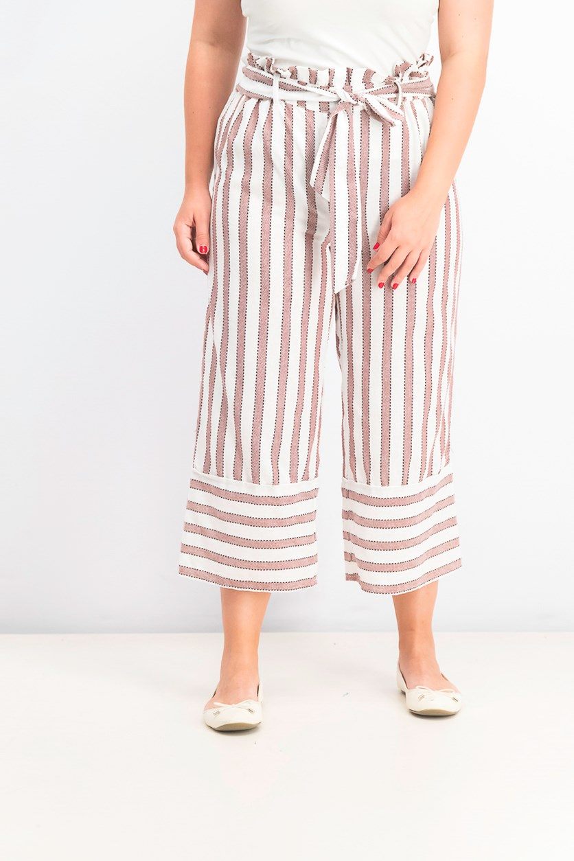Juniors' Cotton Paperbag Gaucho Pants, Desert Spice