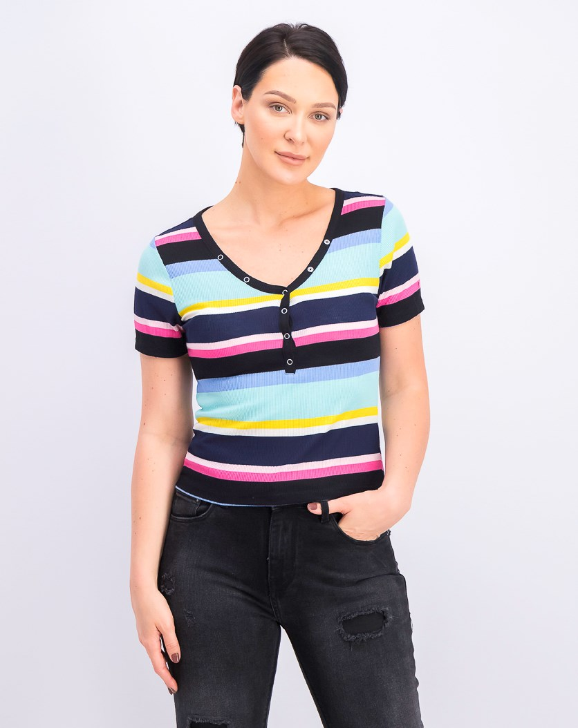 Juniors' Striped V-Neck Top, Black Combo Stripe