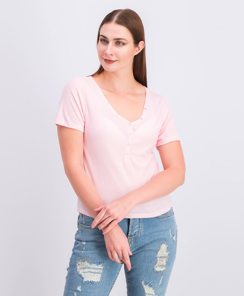 Juniors' V-Neck Henley Top, Orchid Pink
