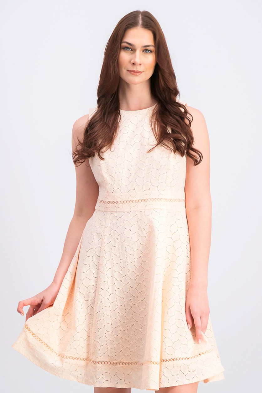 Women's Eyelet Fit & Flare Dress, Blossom