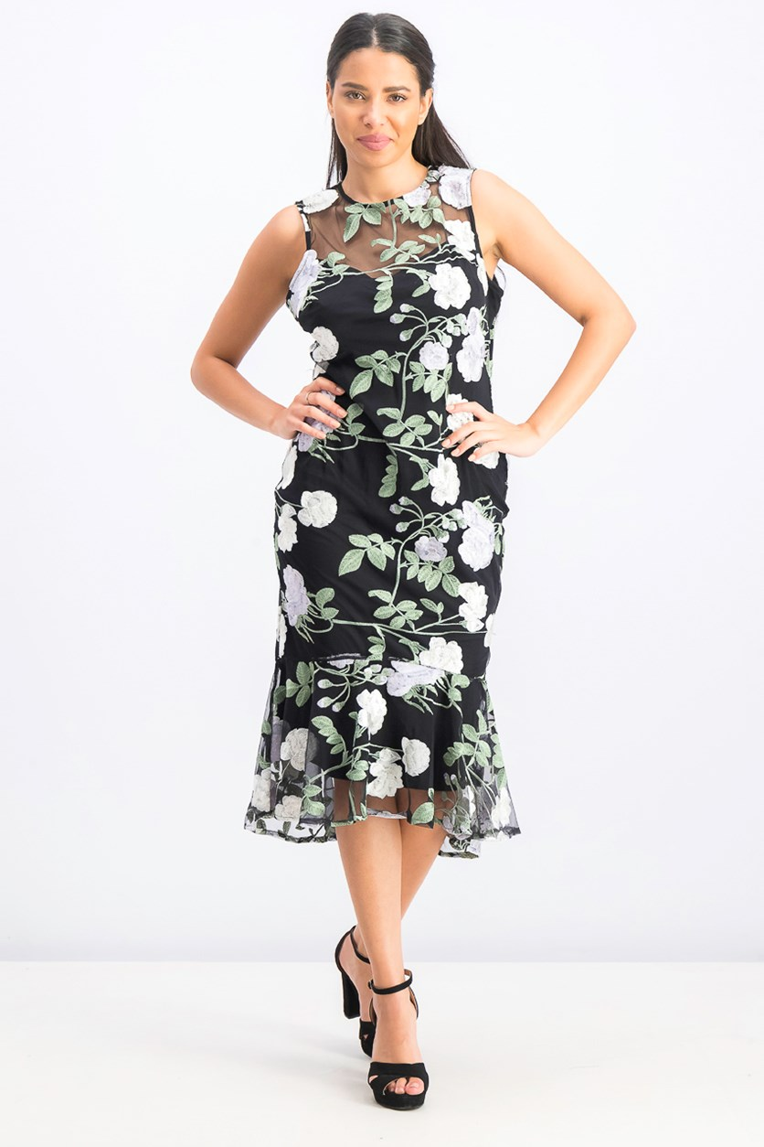 Embroidered Floral Flounce Dress, Black