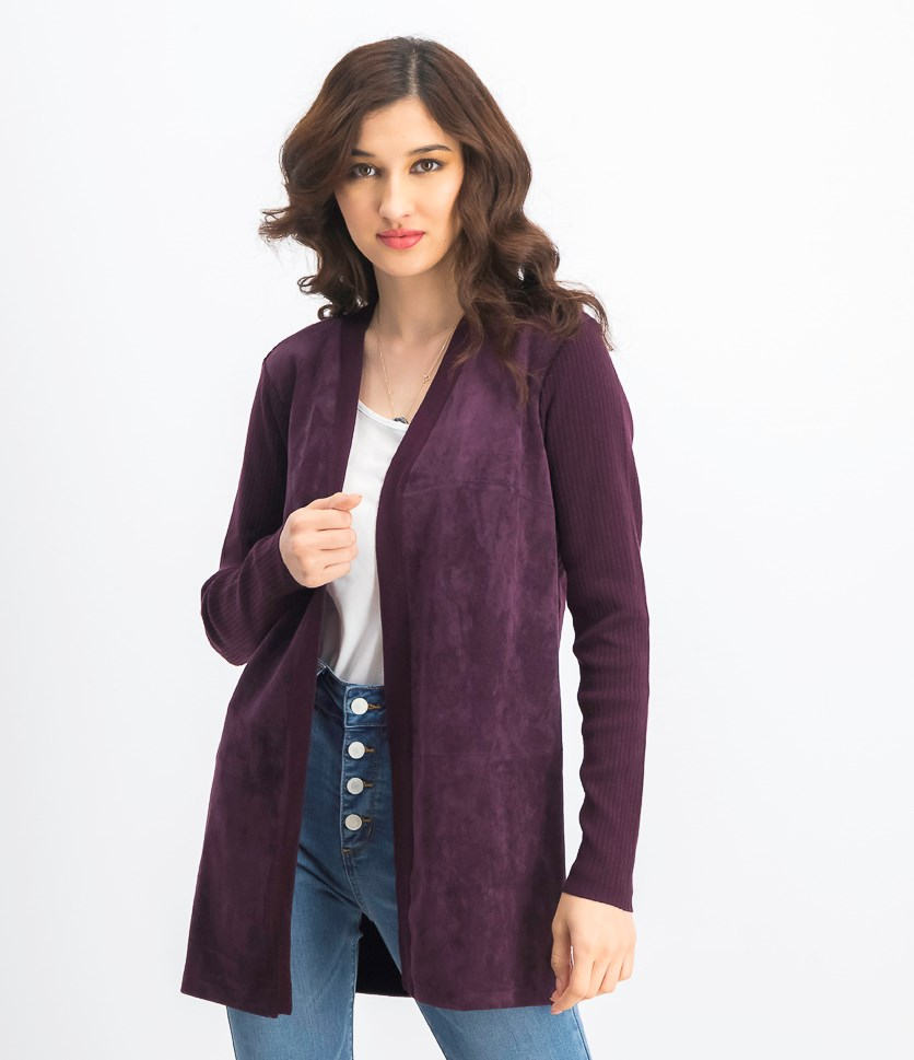 Women's Faux-Suede Ribbed Cardigan, Purple