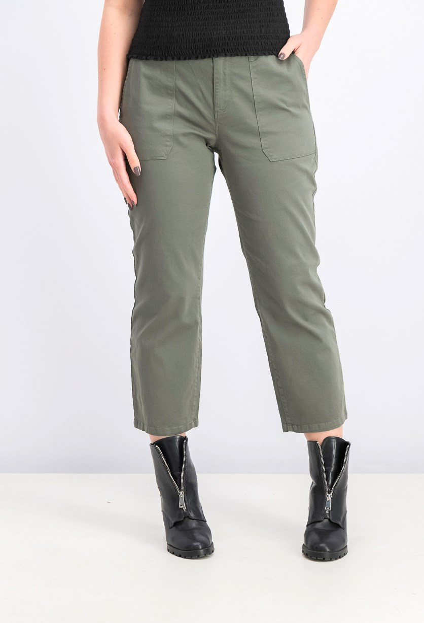 Women's Cropped Patch-Pocket Chino Pants, Peace Green