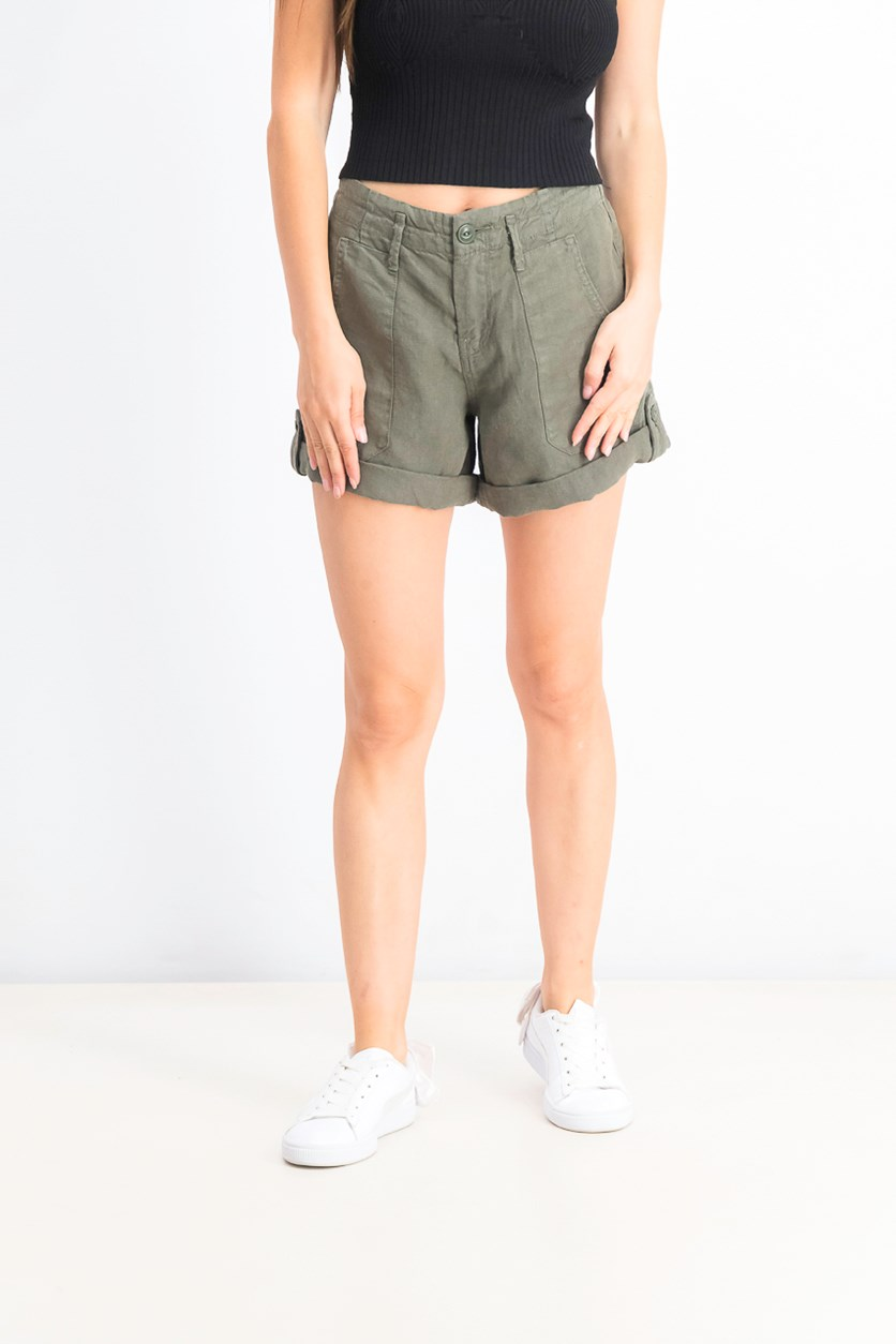 Women's Explorer Linen Utility Shorts, Green