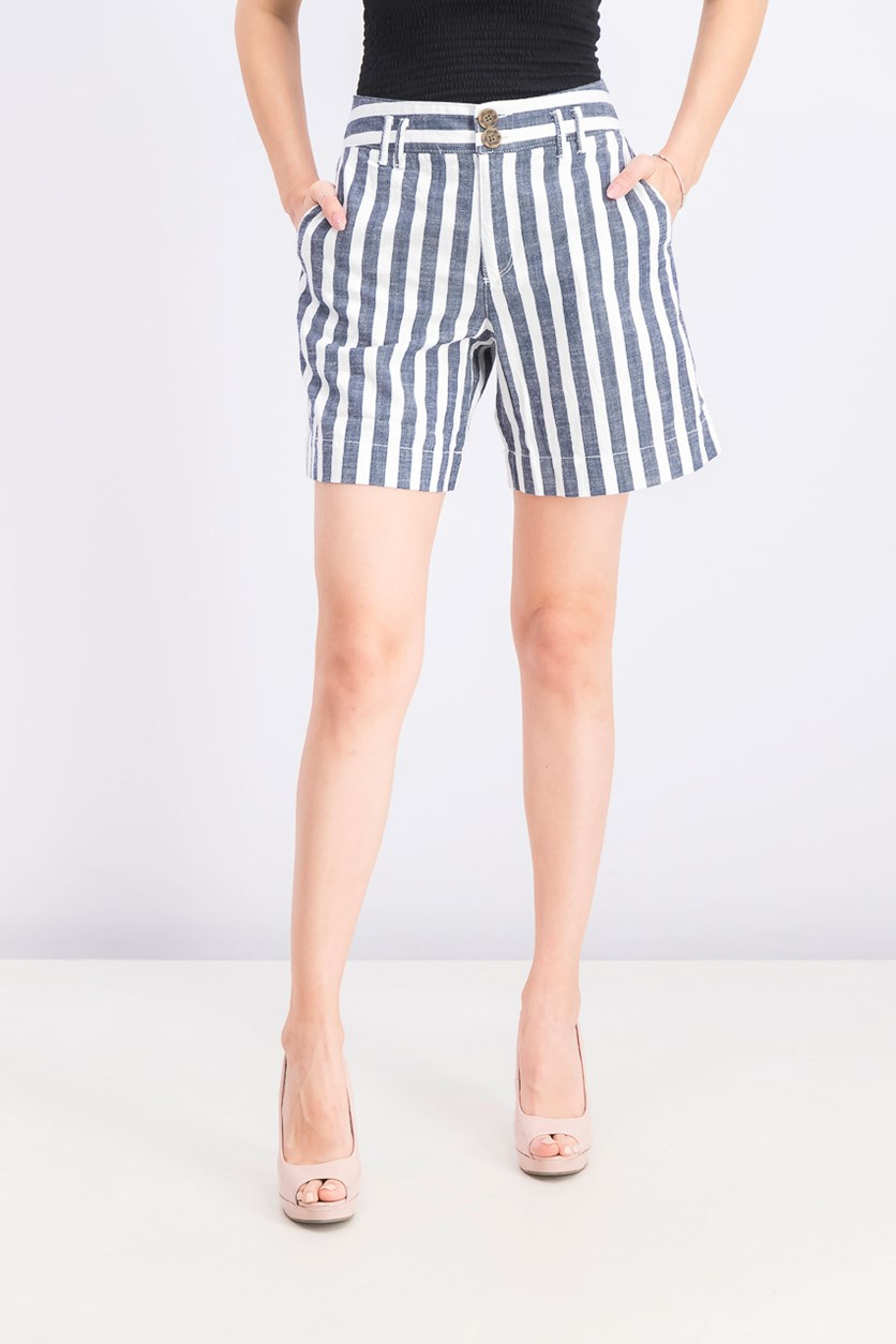 Women's Stripe Hi Waist Casual Shorts, White/Navy