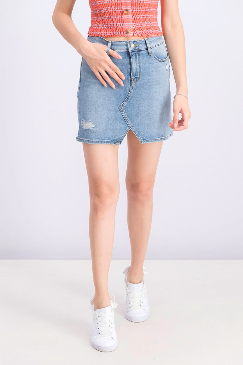 Women's Leo Five-Pocket Denim Mini Skirt, Blue