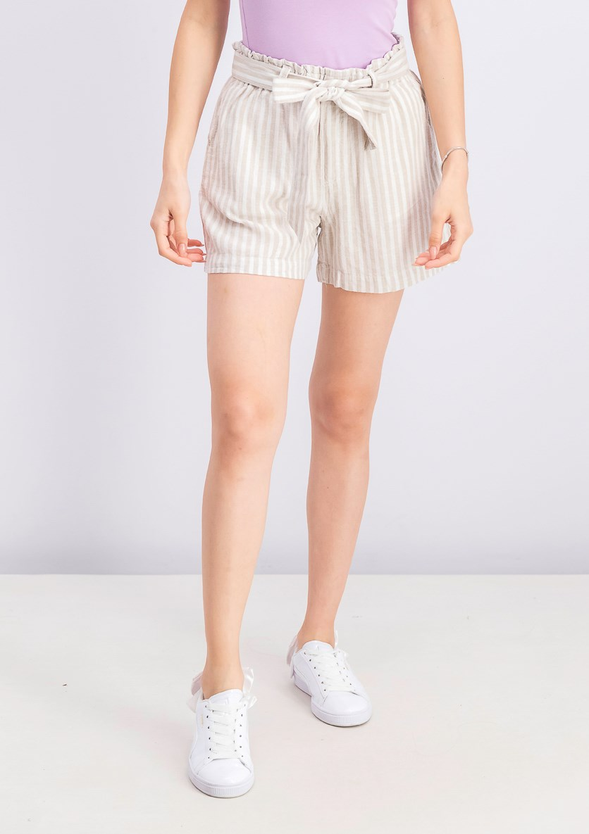 Women'' Valley Striped Paper-Bag Shorts, Ivory Combo