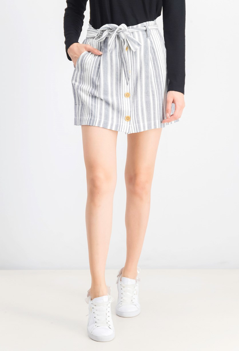 Women's Sagebrush Paperbag Waist Stripe Skirt, Salton