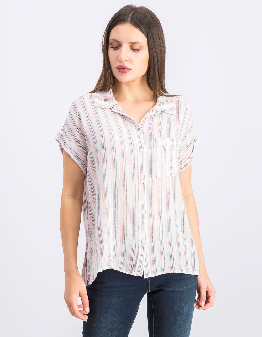 Women's Stripes Short Sleeve Boyfriend Tops, White Combo