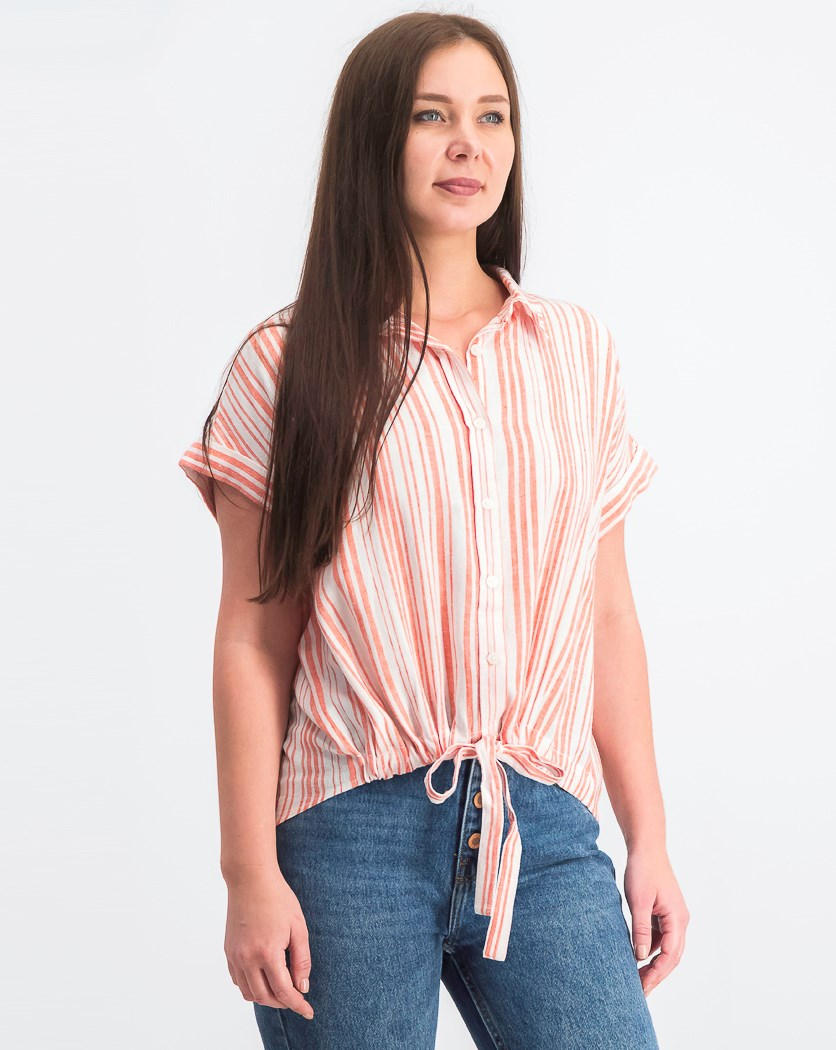 Women's Borrego Striped Tie-Front Shirt, Red/White