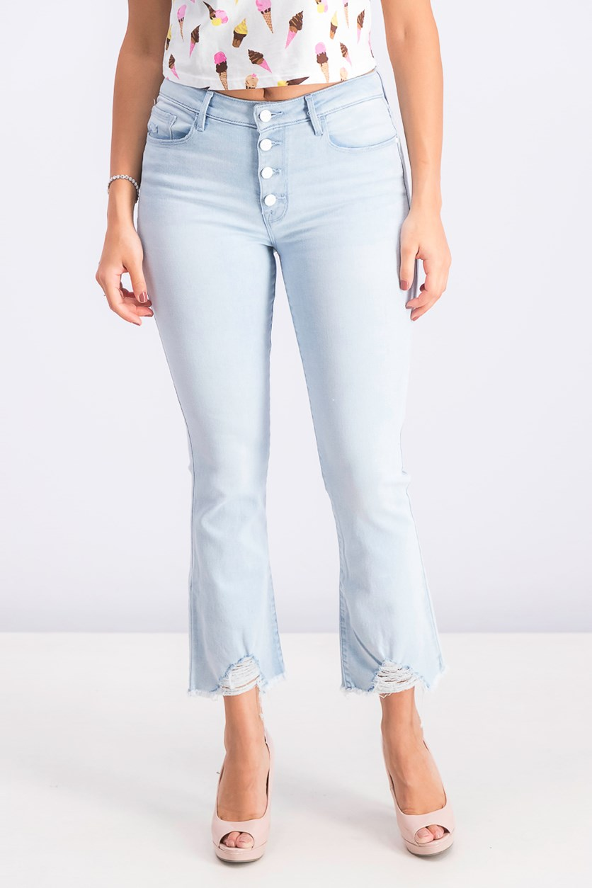 Women's Connector Kick Frayed-Hem Capri Jeans, White Sand