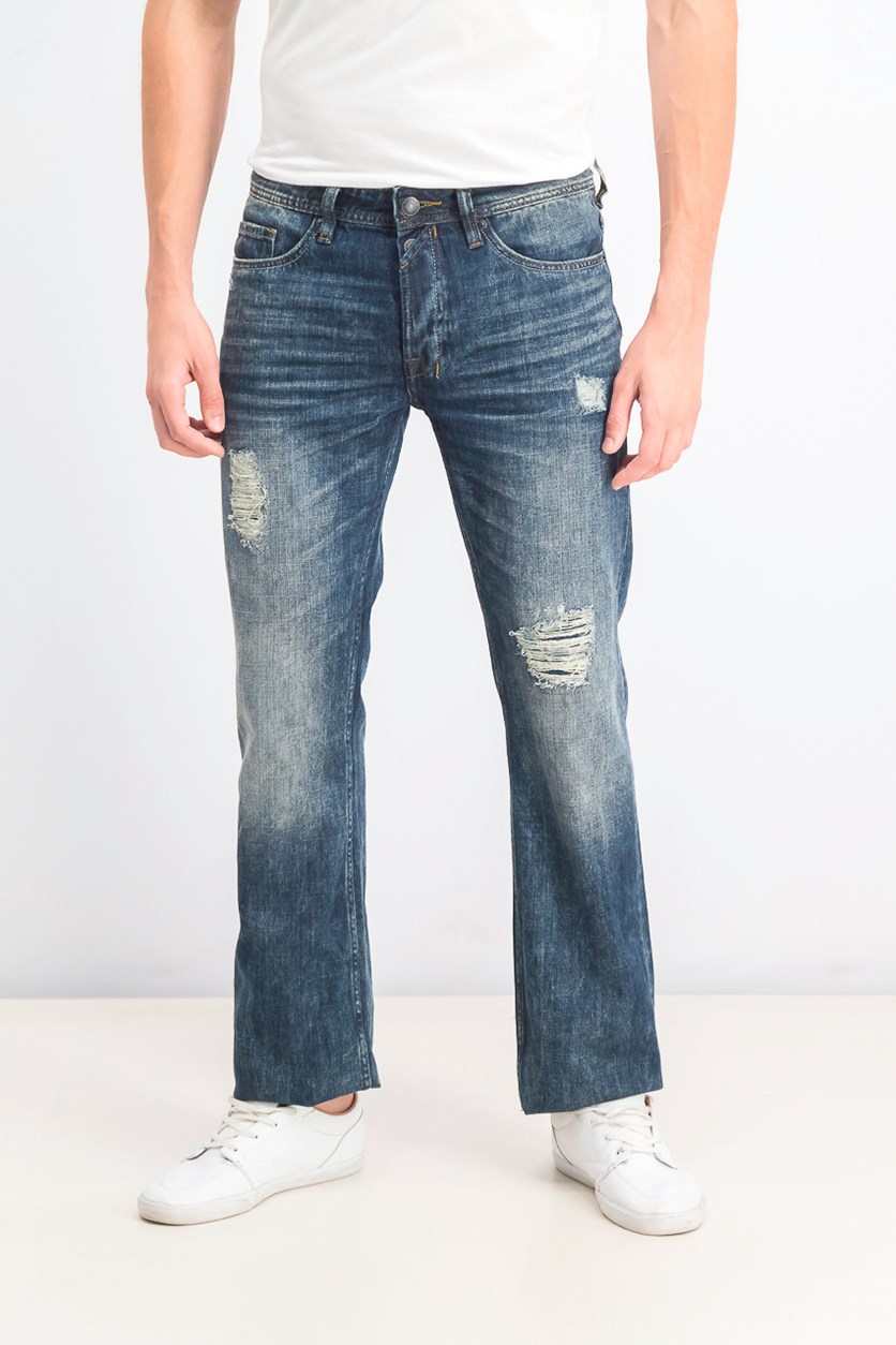 Men's Driven Relaxed Fit Distressed Jeans, Worn Indigo