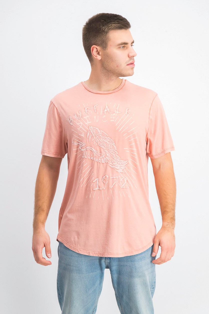 Men's Graphic Print V-neck Tee, Faded Coba
