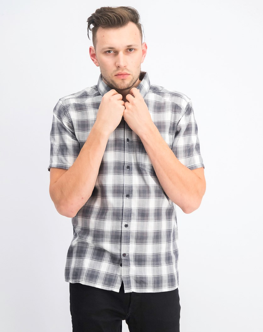 Men's Archie Plaid Shirt, White/Gray