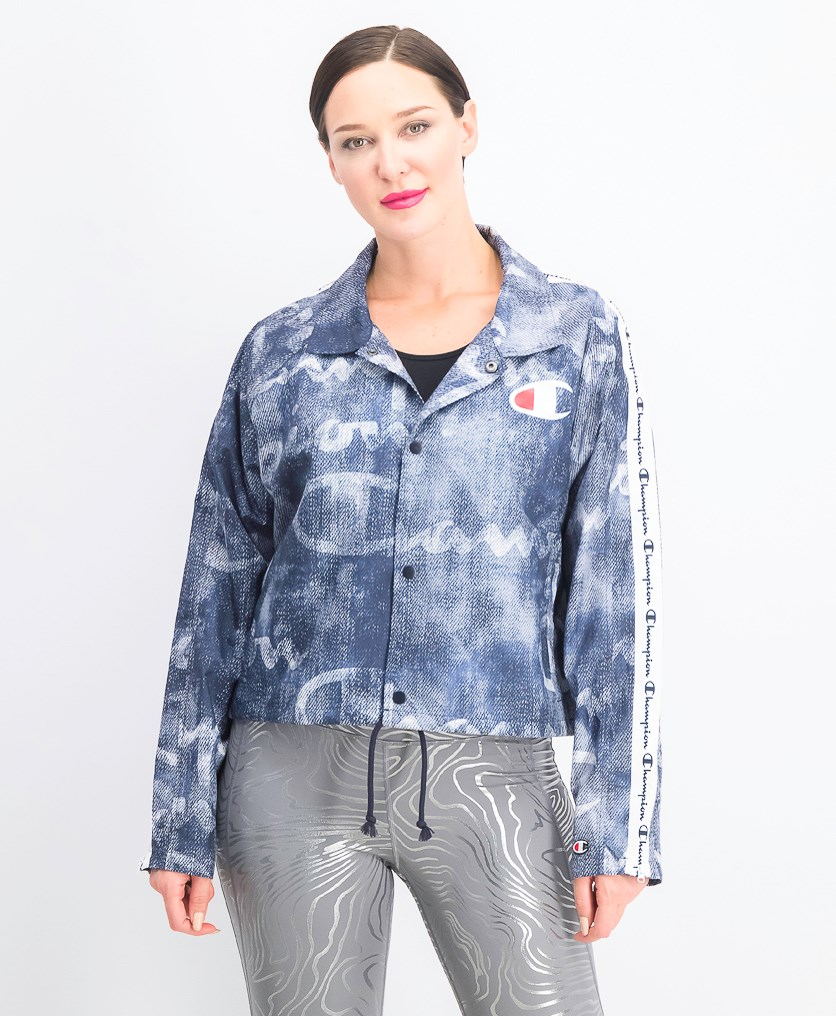 Women's Crop Coaches Jacket, Denim