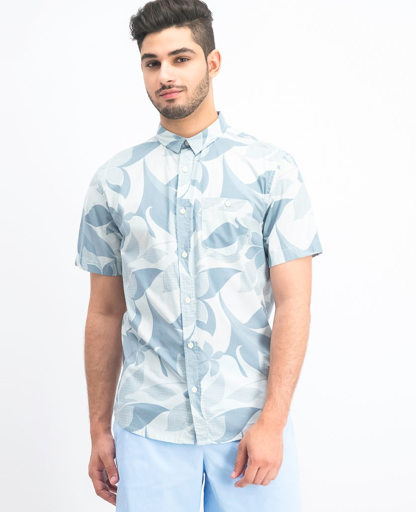 Men's Woven Graphic Shirt, Stormy Sea Seventies