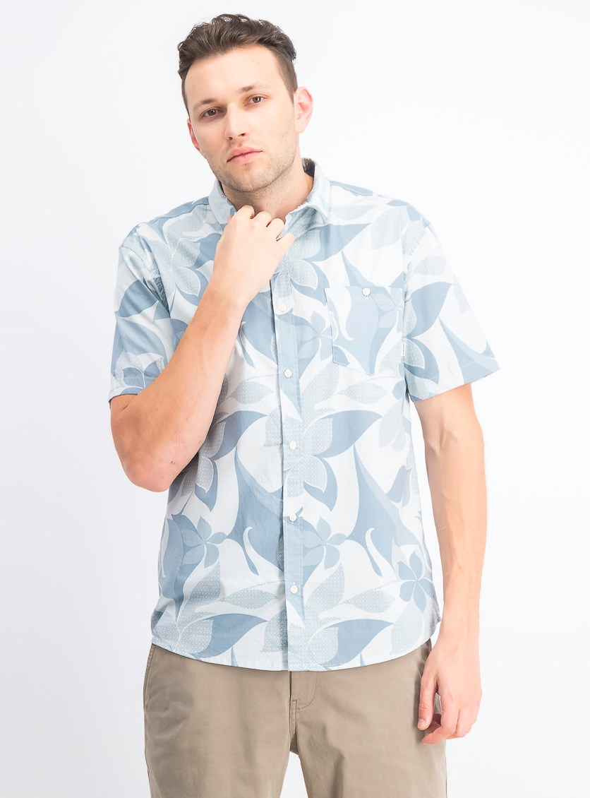 Men's Woven Printed Shirt, Stormy Sea Seventies