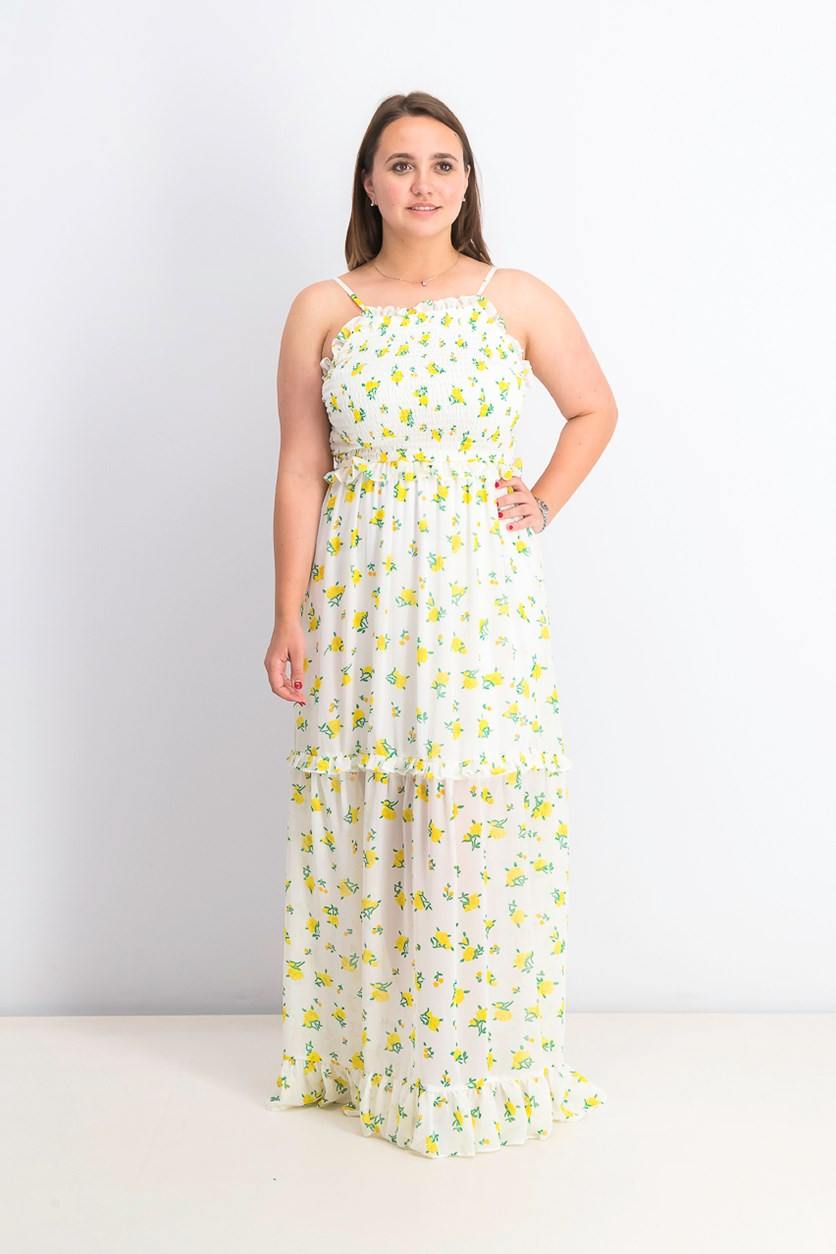 Women's Ruffled Floral-print Maxi Dress, Lemon Drop Floral