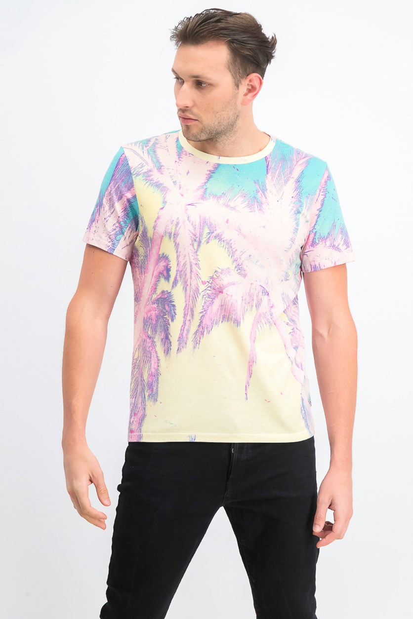 Men's Solarized Palms Graphic T-Shirt, Light Pink Combo