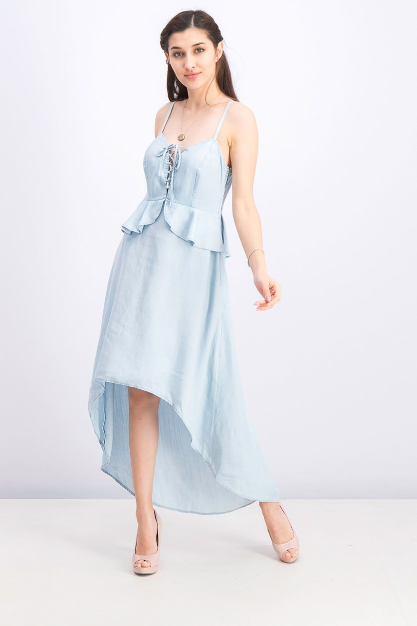 Women's Chambray High-Low A-Line Dress, Denim Blue