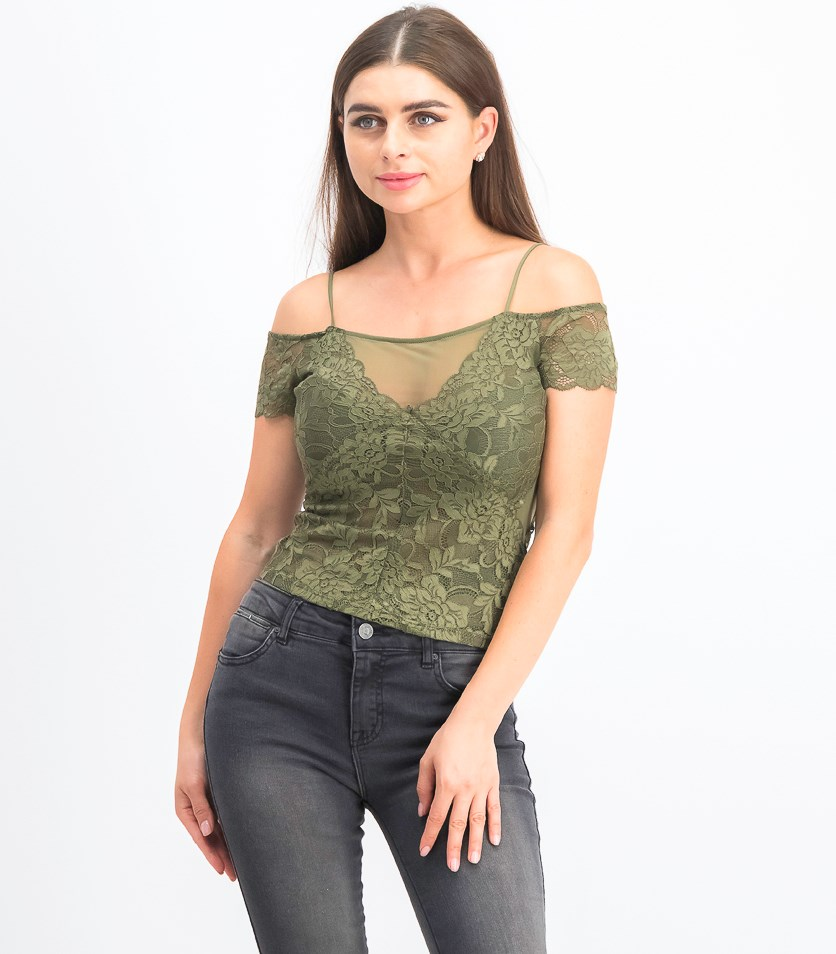 Women's Lace Sheer Blouse, Army Olive