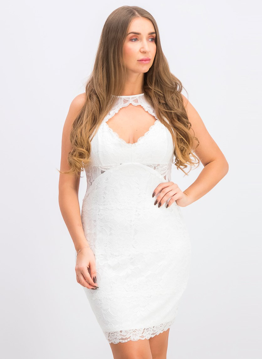 Silvana Sleeveless Lace Cutout Dress, Pure White