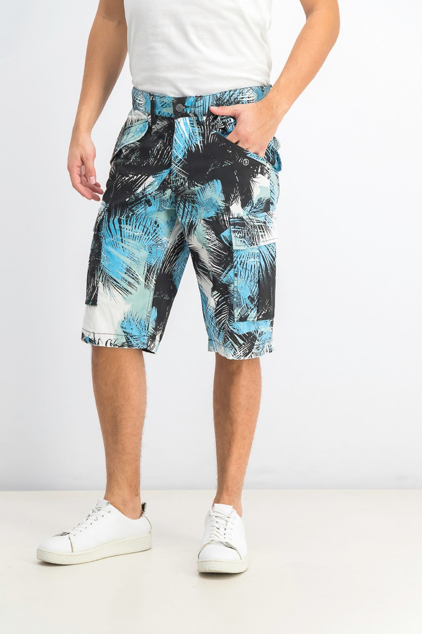 Men's Island Breeze Stretch Palm-Print Cargo Short, Blue Combo