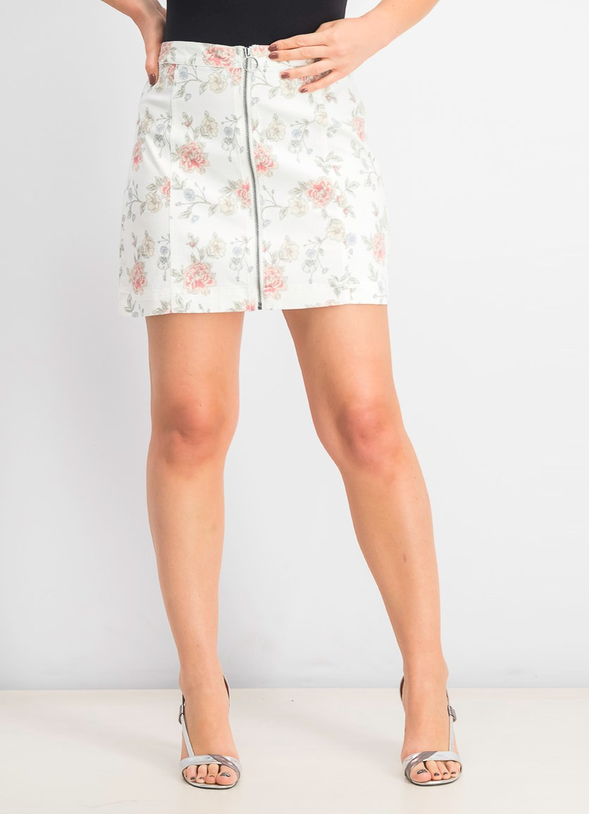 Women's Printed Zip-Front Denim Mini Skirt, White Combo