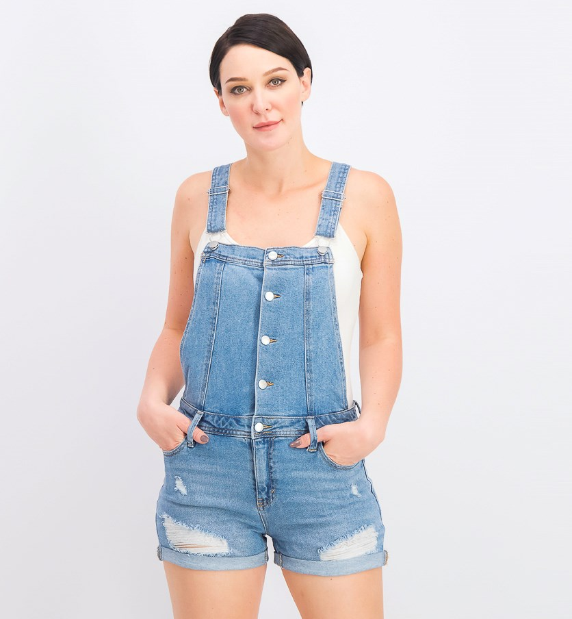 Juniors' Ripped Cuffed Denim Shortalls, Medium Blue