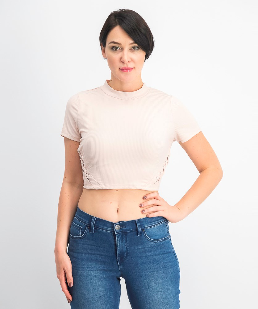 Women's Juniors' Lace-up Rib-Knit Crop Top, Peach Whip