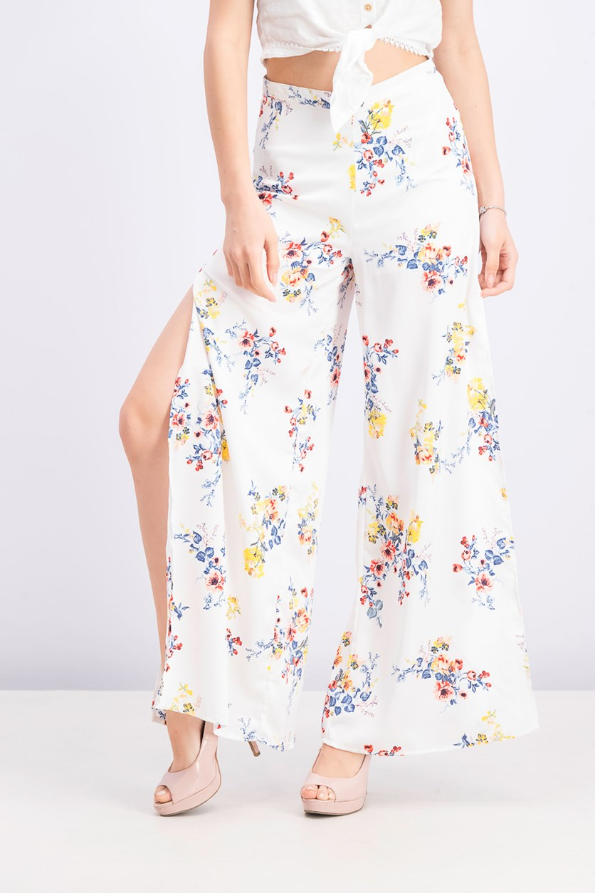 Junior Printed Side-Split Palazzo Pants, White Combo