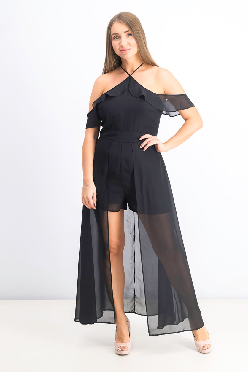 Juniors' Off-the-Shoulder Romper, Black
