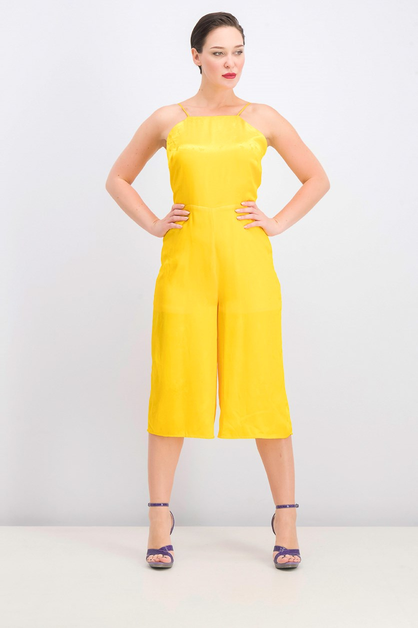 Juniors Girls' Printed Gaucho Jumpsuit, Lemon Chrome
