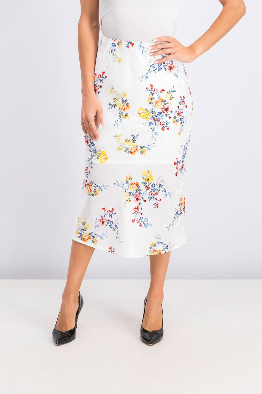 Women's Juniors Printed Textured Midi Skirt, White Floral
