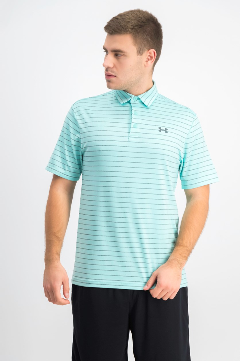 Men's Playoff Striped Polo, Turquoise/Grey