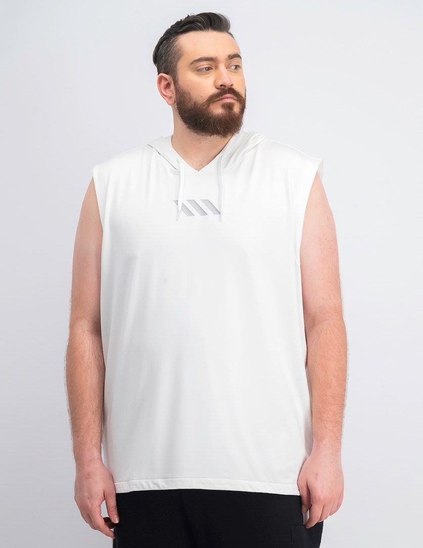 Men's Madness Sleeveless Hoodie, White