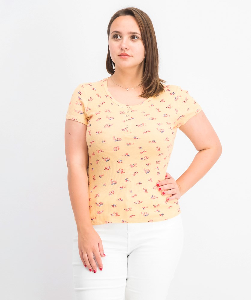 Womens Juniors' Thermal Henley Top, Yellow Ditsy