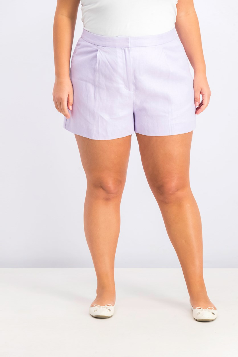 Women's Pleated Linen Shorts, Pale Orchid