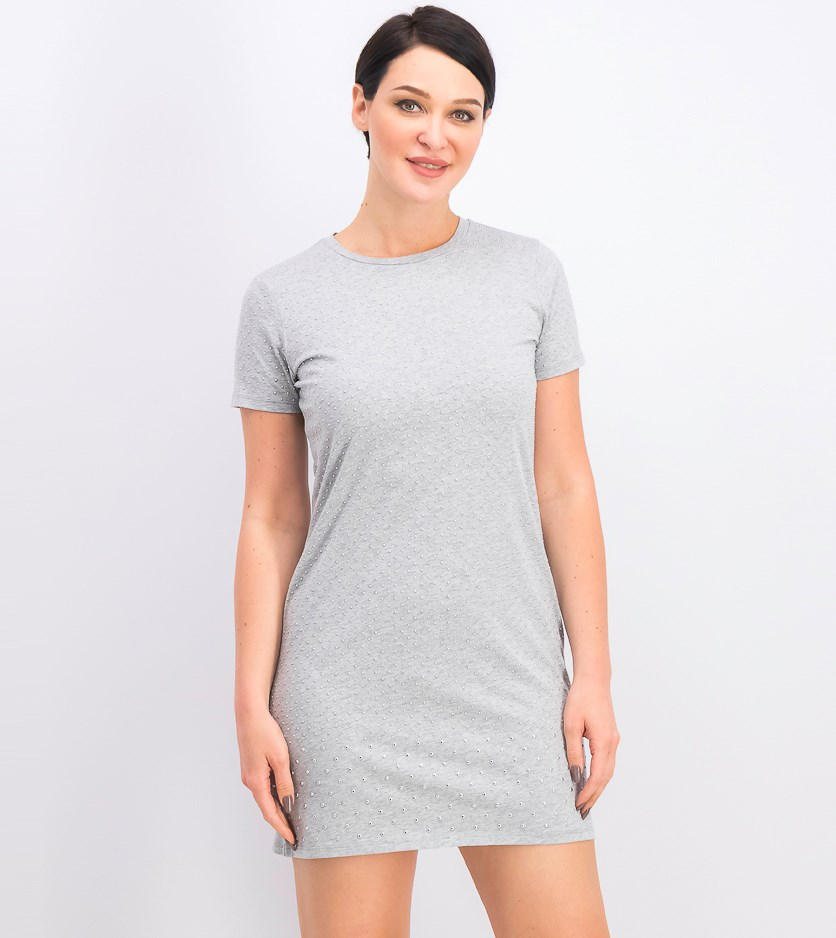 Women's Mini-Studded T-Shirt Dress, Pearl Heather