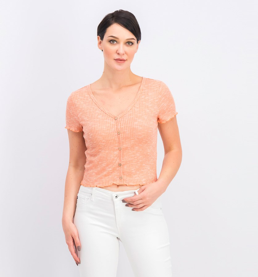 Juniors' Lettuce-Edge Crop Top, Coral