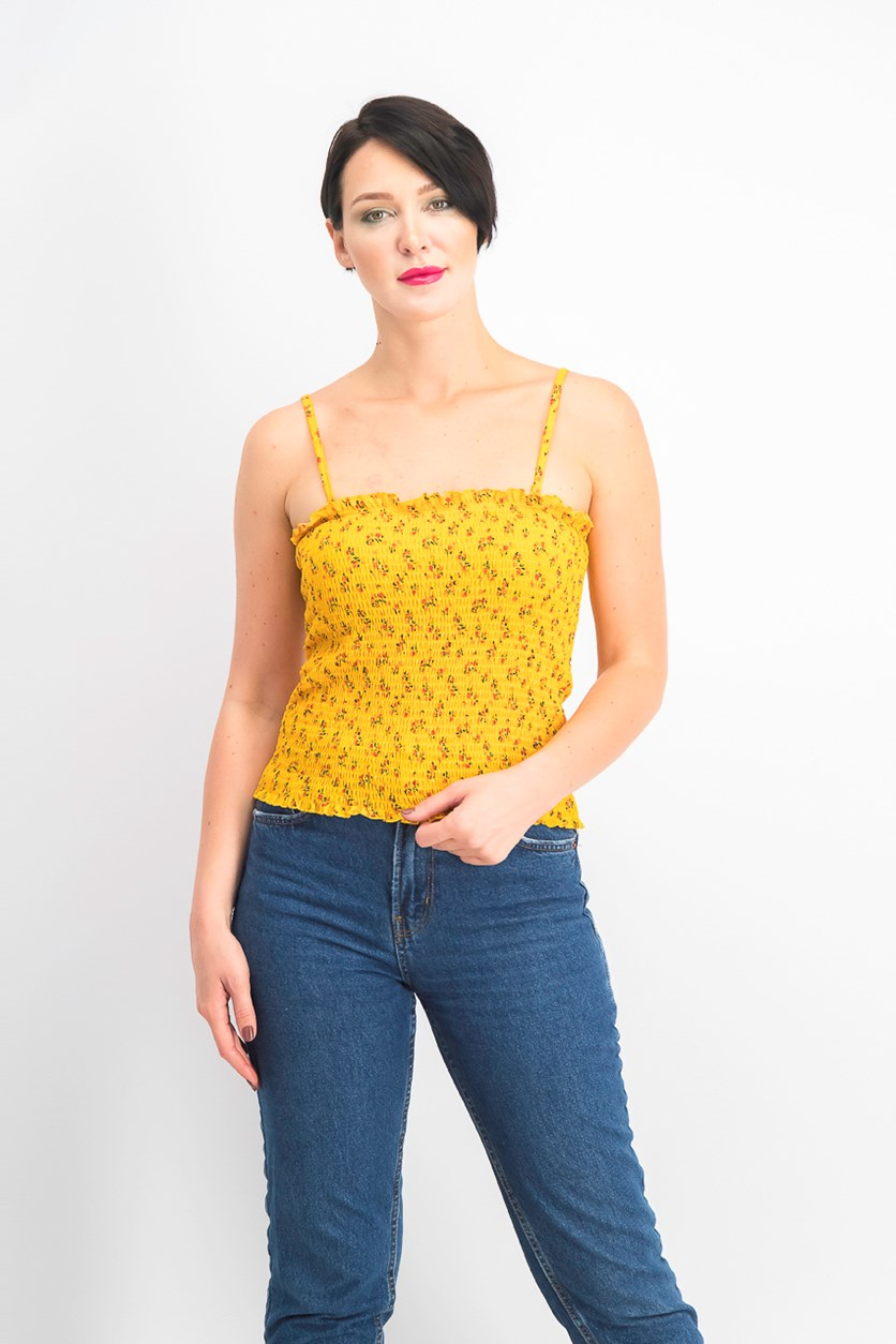 Juniors' Ruffled Smocked Top, Gold Flower