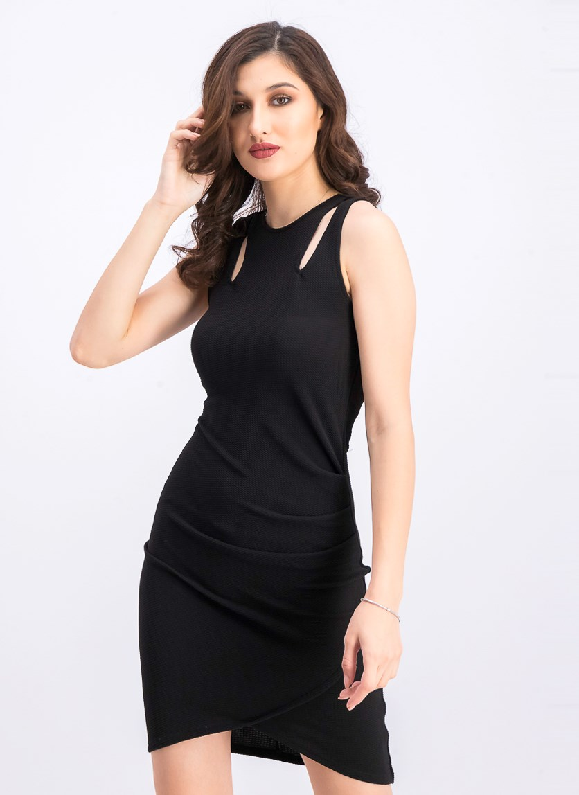 Juniors' Cutout Bodycon Wrap Dress, Black