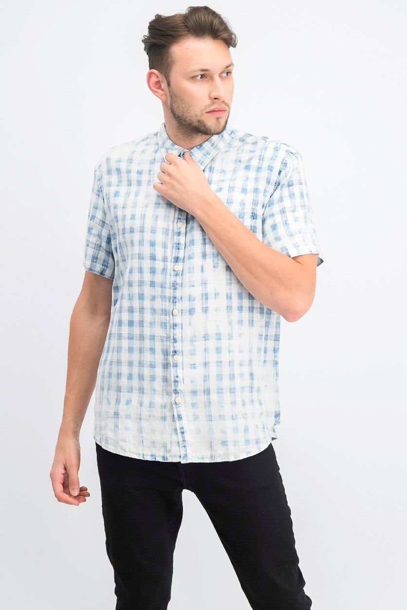 Men's Woven Plaid Shirt, Blue