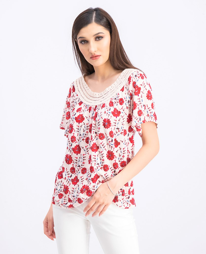 Women's Crochet Short Sleeve Top, Red